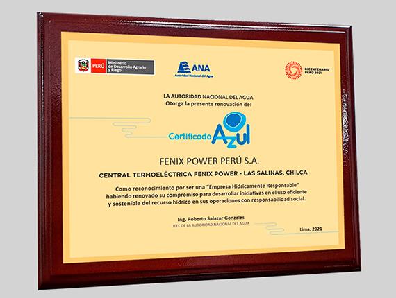 ANA renueva Certificado Azul a Fenix gracias a compromiso de eficiencia hídrica